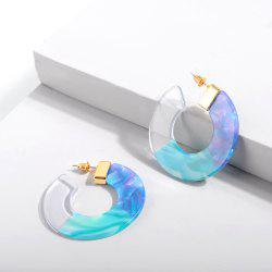Personality Acetic Acid Plate Splicing Tricolor Acrylic Connecting Round Earring -