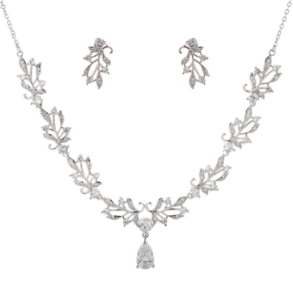 Unique New Fashion Luxury High End Leaf Drip Type Necklace Set