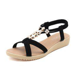 Flat Bottom Fashion Beaded Female Sandals H-1 -