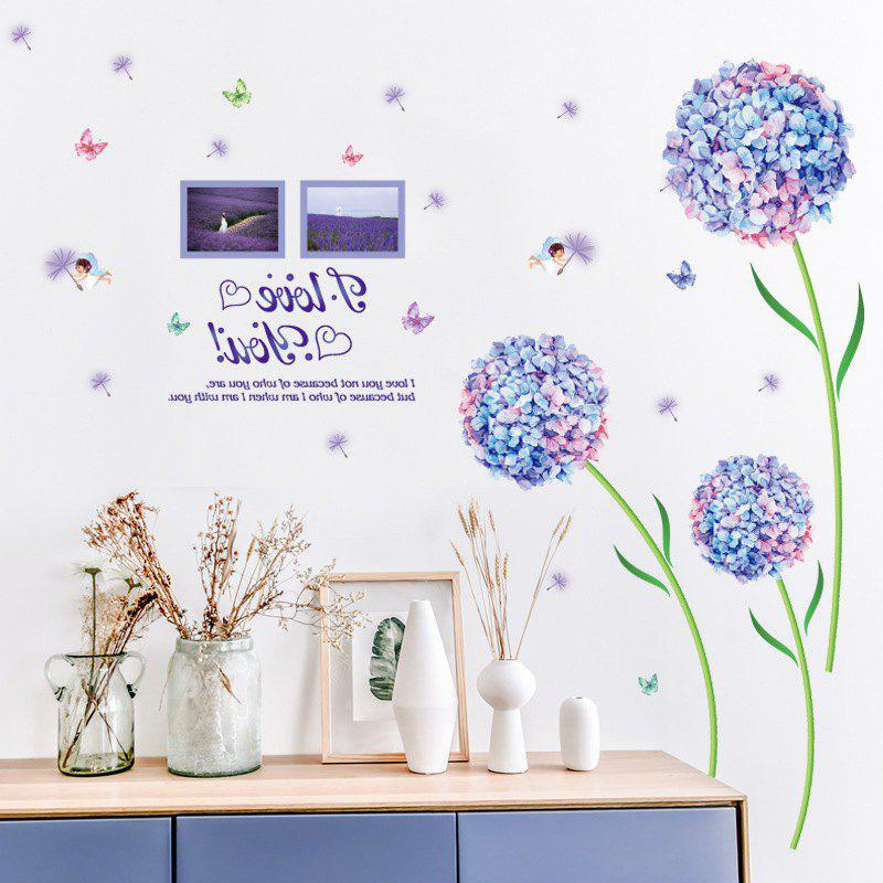 Blue Dream Flower Ball Romantic Living Room Bedroom Tv Background Wall Sticker
