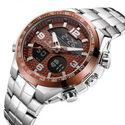 SENORS Men's Double Display Waterproof Steel Strip Quartz Watch -