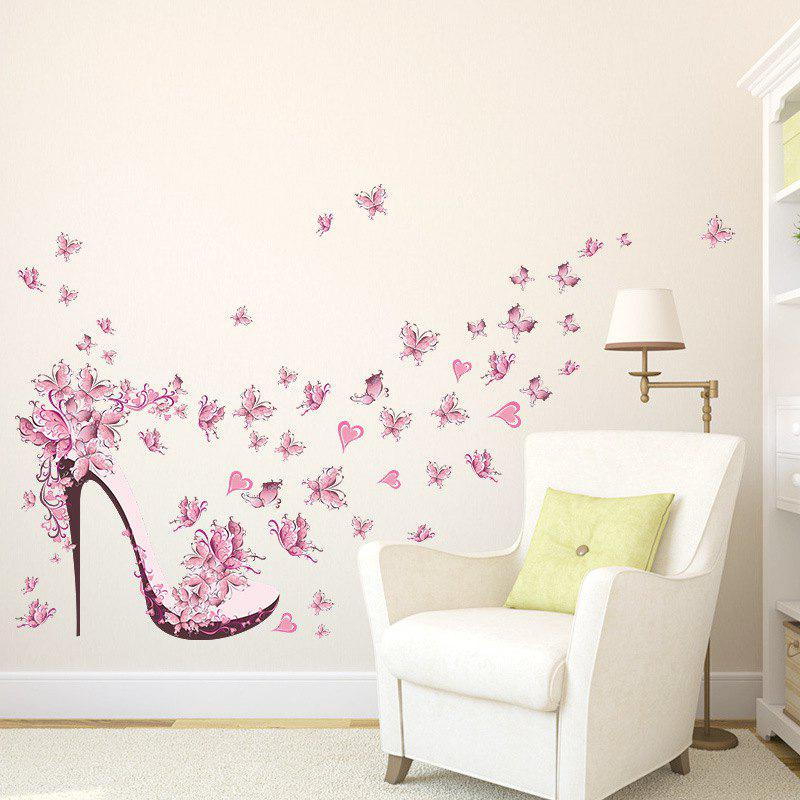 Fancy Pink Butterfly Heels Removable PVC Wall Sticker