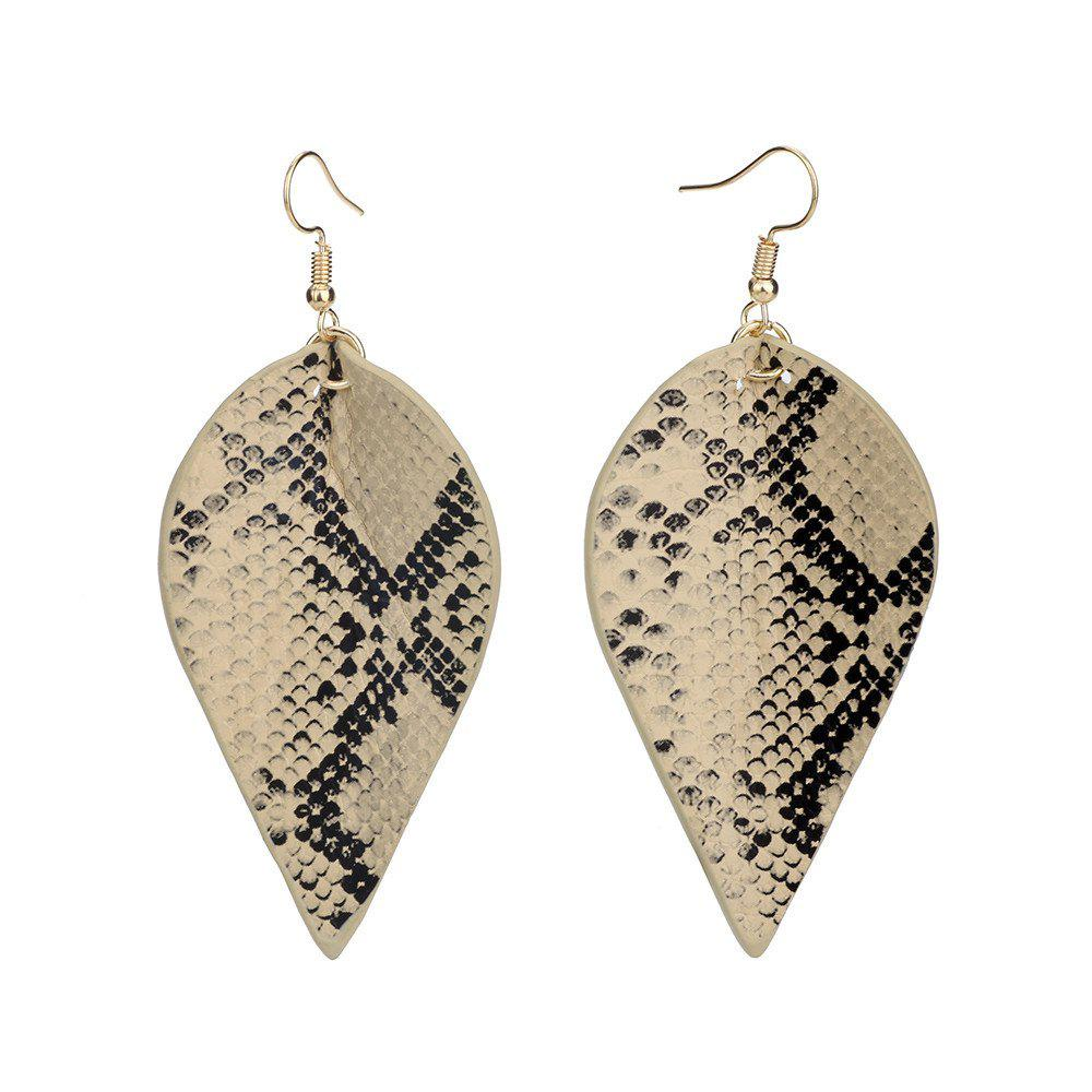Outfit Fashion Pu-Leather Personality Serpentine Leopard Long Geometric Leaf Earrings