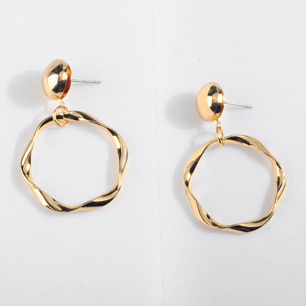 Outfit Retro Hyperbole Geometric Twisted Ring Metal Alloy Earrings