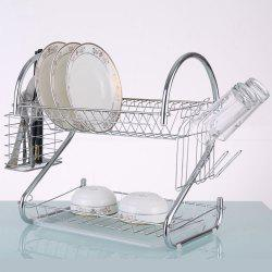 S Shape Metal Double Layers Dish Drainer Rack Organizer Kitchen Accessories -