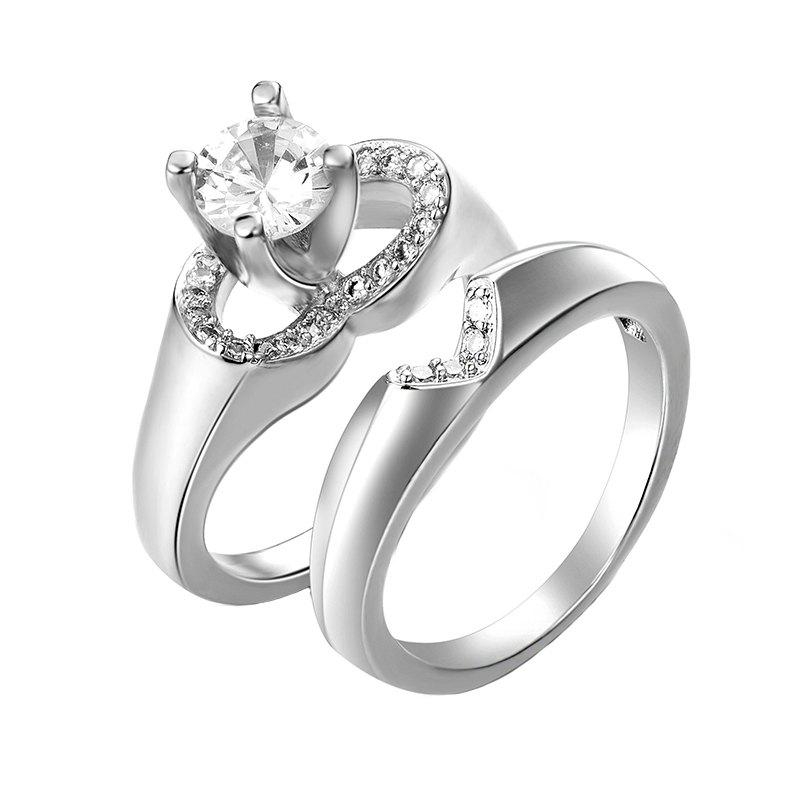 Creative Fashion Artificial Diamond Heart-Shaped Hollow Set Ring