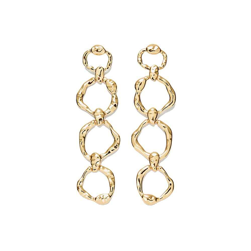 64479011401 49% OFF] Circle Alloy Gold Ring Geometric Long Chain Earrings | Rosegal