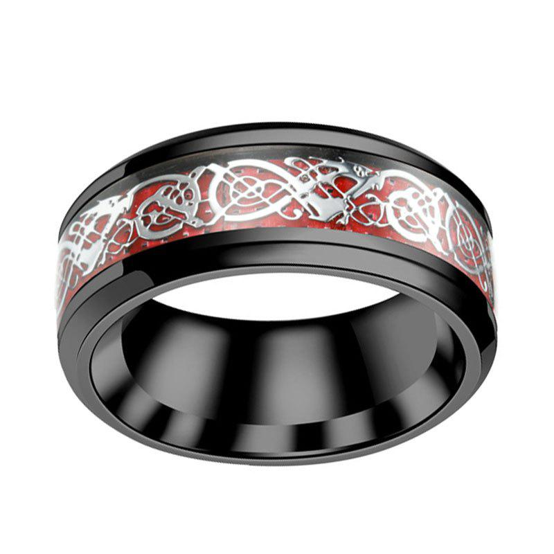 Fashion Green Carbon Fiber Silver Dragon Inlay Tungsten Carbide Wedding Ring