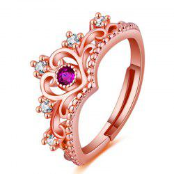 Silver Princess Crown Red Crystal Ring Women's Wedding Adjustable Ring -
