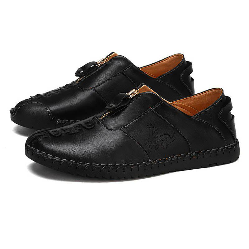 New Spring Men'S Casual Shoes England Handmade  Round Leather Men'S Shoes