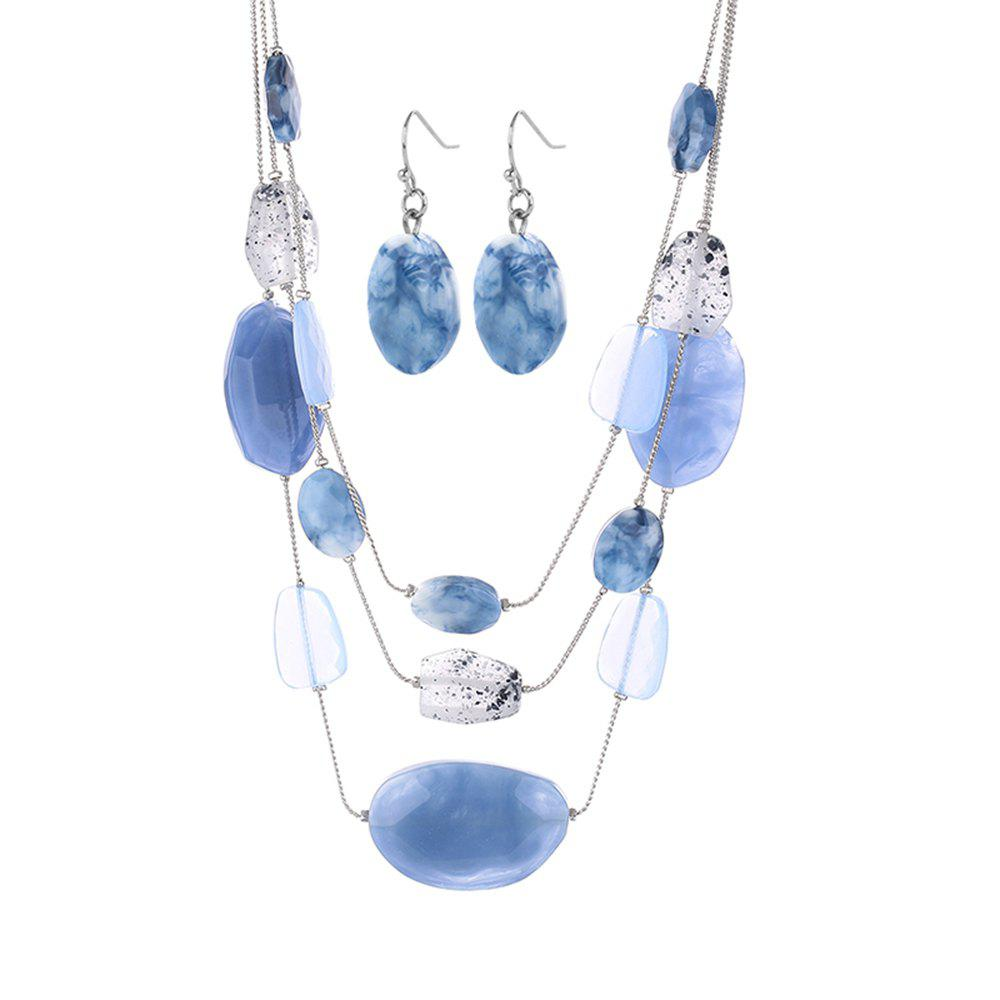 Cross-Border Jewelry Sky-Blue Resin Beads Multi-Row Neckl