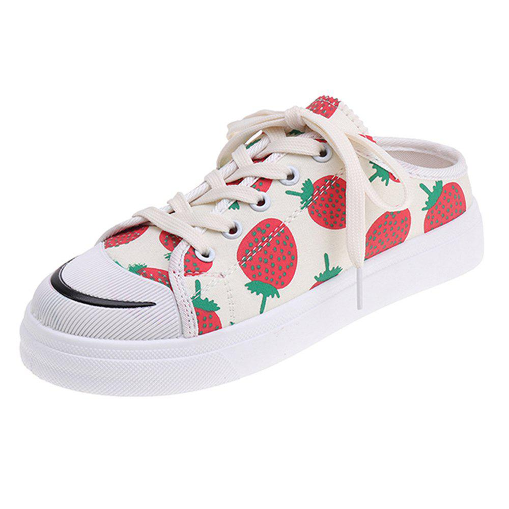 New Explosion Models Strawberry White Shoes Low To Help Shoes Canvas Shoes Women