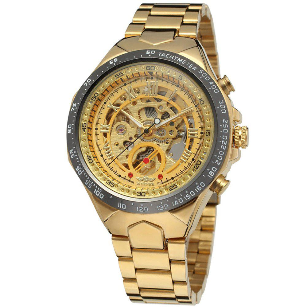 Cheap Winner Men Skeleton Mechanical Watch Gold Stainless Steel Waterproof Watch