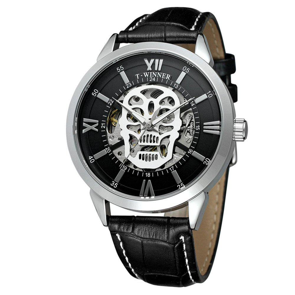 Outfit Winner Skull Dial Watches Men Leather Automatic Watches Skeleton Wristwatch