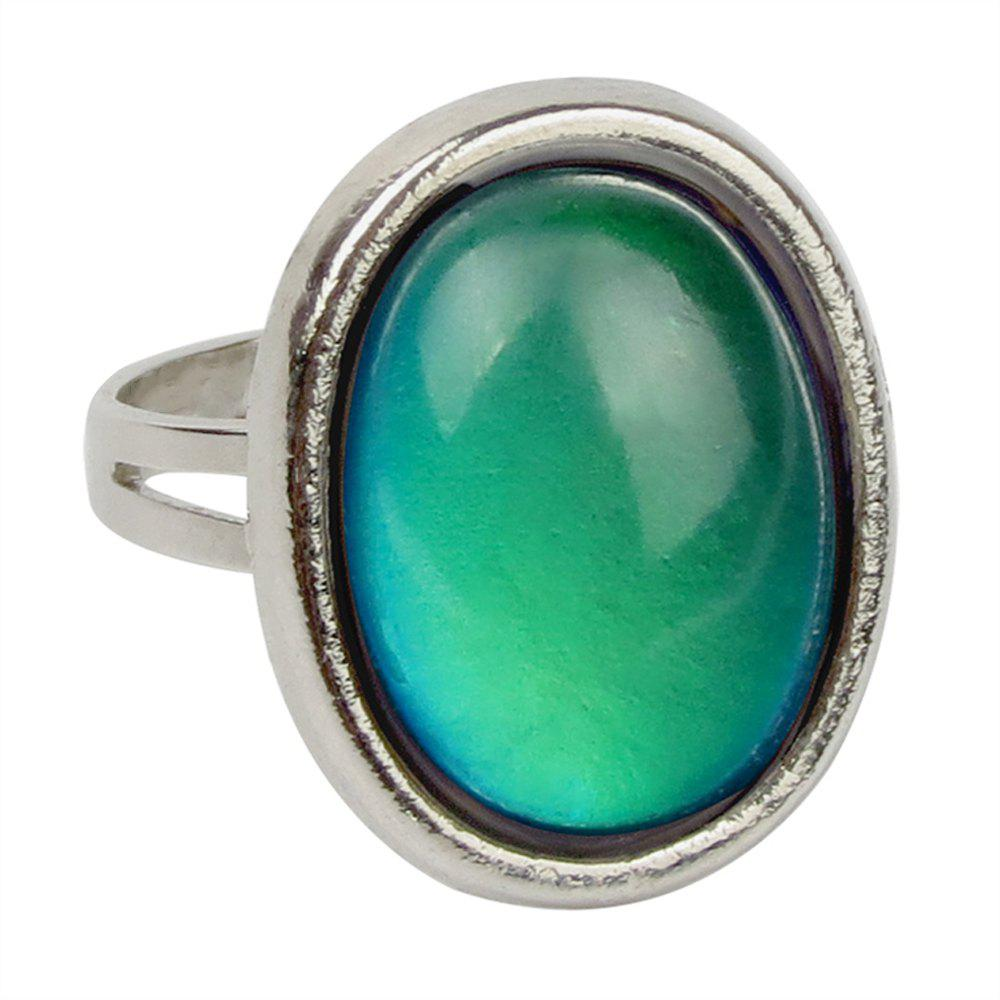 Fashion Antique Exaggerated Ellips Temperature Change Color Mood Ring Adjustment 1PC