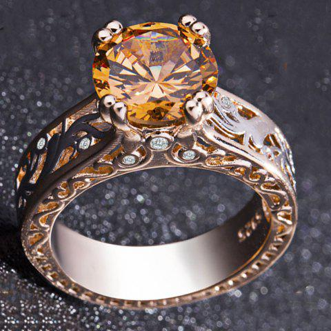 Rose White Gold Plated Silver Round Cut Champagne White Topaz Engagement Ring