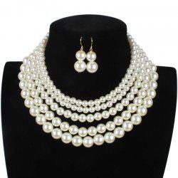 Simple Multi-layer Pearl Necklace Earrings Set -