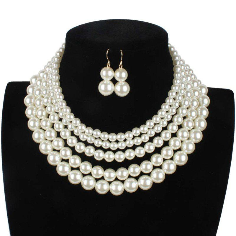 Shops Simple Multi-layer Pearl Necklace Earrings Set