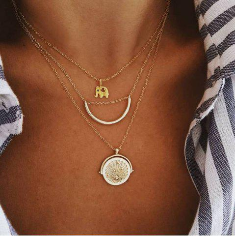 Fashion personality elephant crescent planet multi-layer necklace