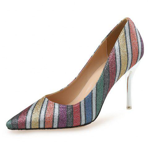 Pointed Striped Color Sequined Shoes
