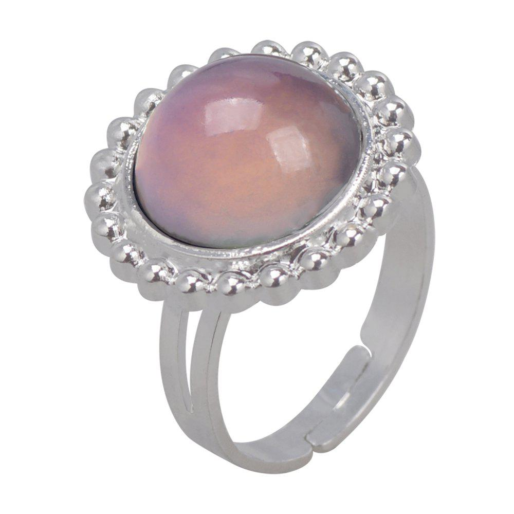 Outfit Round Gem Temperature Change Color Mood Ring Adjustment Size 1PC