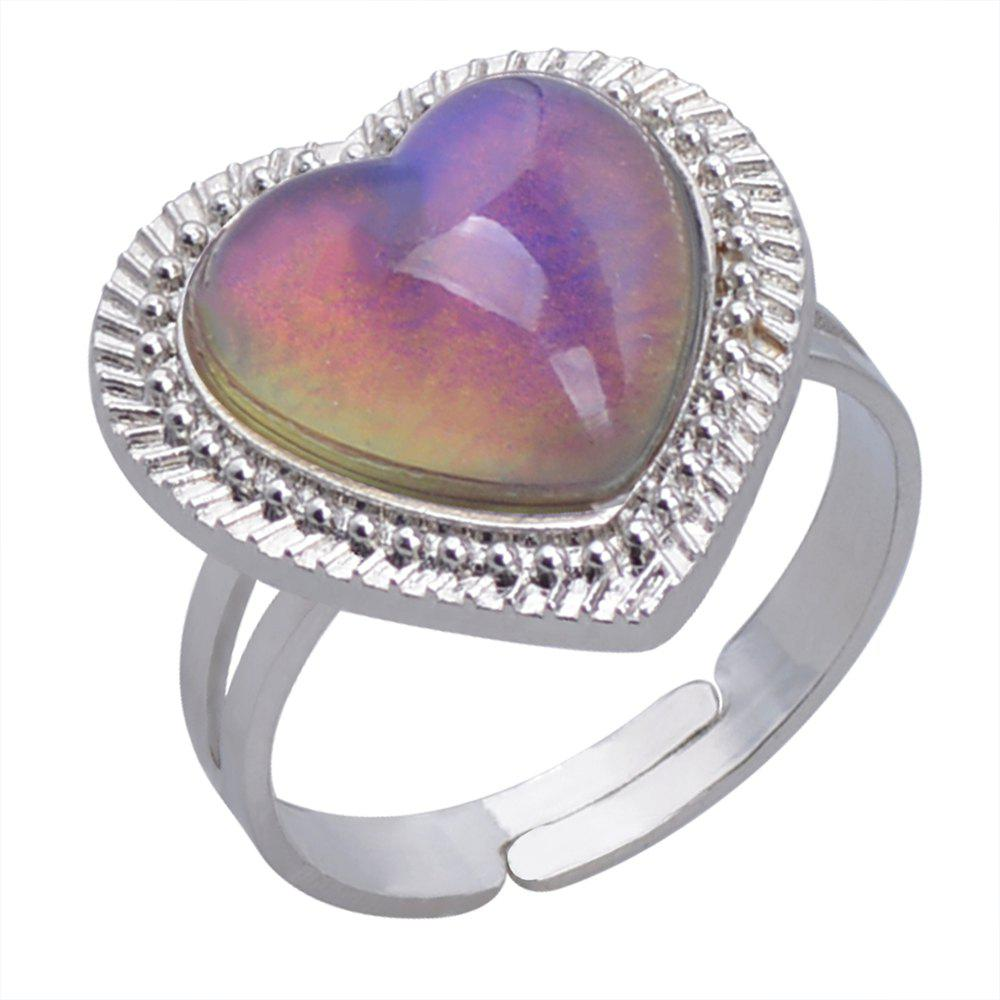 Chic Love Heart Gem Temperature Change Color Mood Ring Adjustment Size 1PC