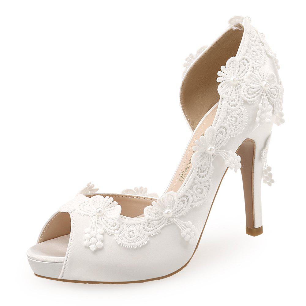 11ee2595b2 BAOYAFANG Lace Applique White Fish Mouth High Heel Bride Wedding Shoes