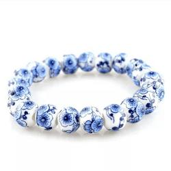 High Quality Blue and White Porcelain String of Beads and Beads Bracelet -