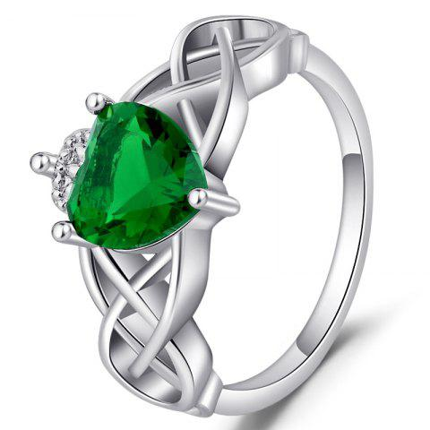 Fashion Silver Emerald Birthstone Engagement Crown Heart Shaped Ring