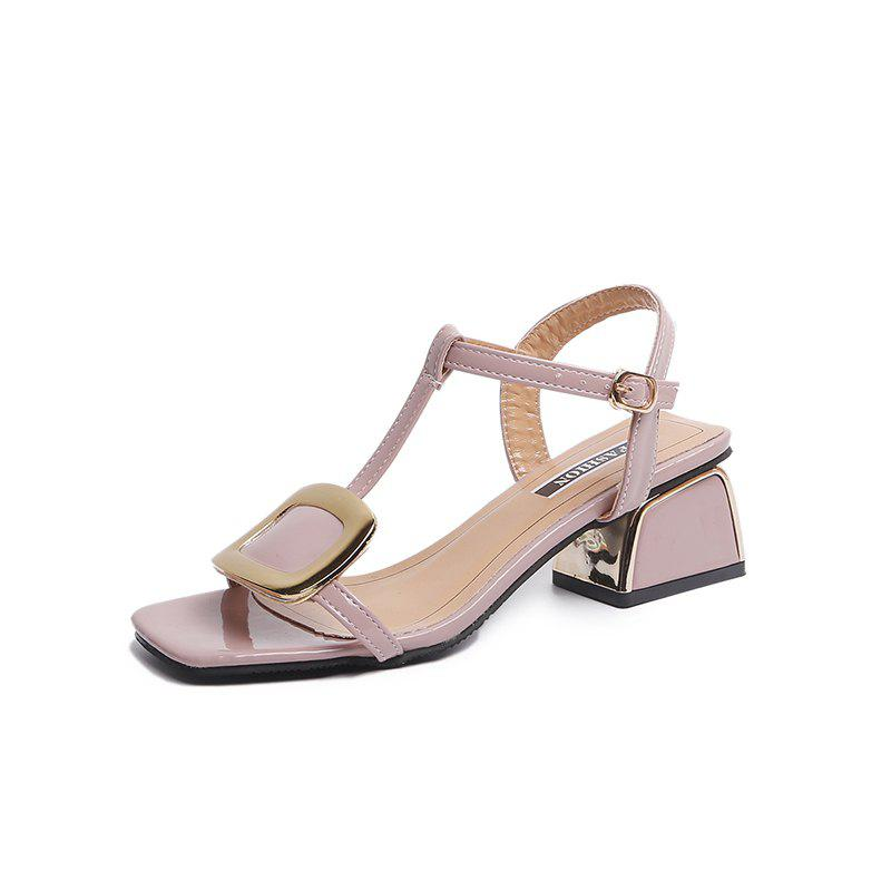 7141342db6c5 High-Heeled Square Buckle Female Sandals - Eu 38
