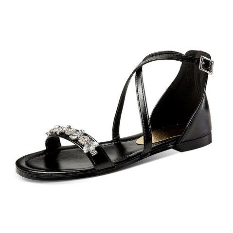 Summer Rhinestone Sandals with Buckles Open Toes and Flat Heels
