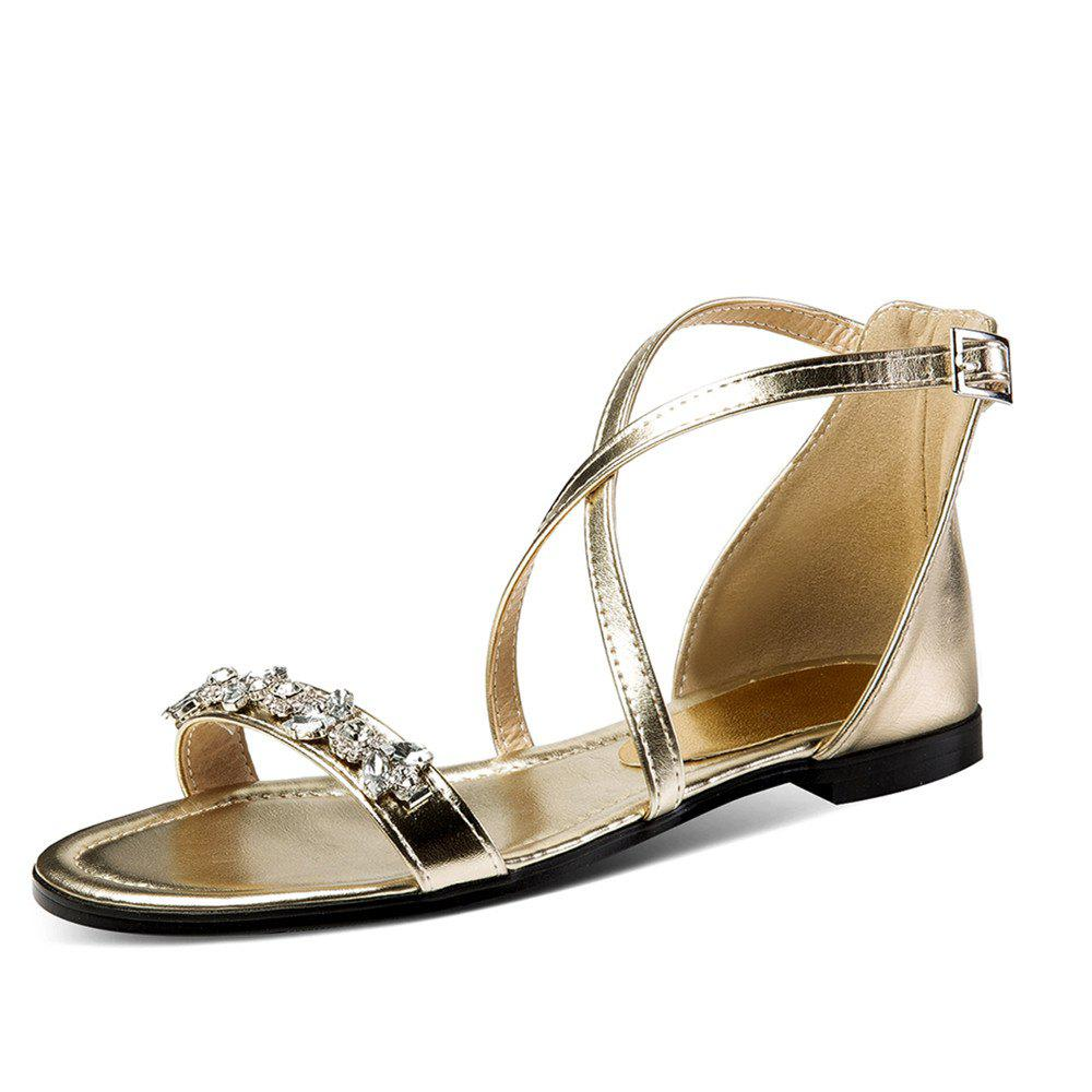 2f73722ad572 2019 Summer Rhinestone Sandals With Buckles Open Toes And Flat Heels ...