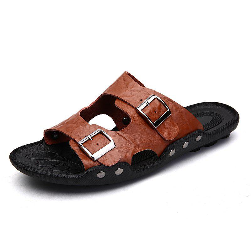 65e2687e2357 Summer Two-Tier Leather Sandals for Men - Eu 42
