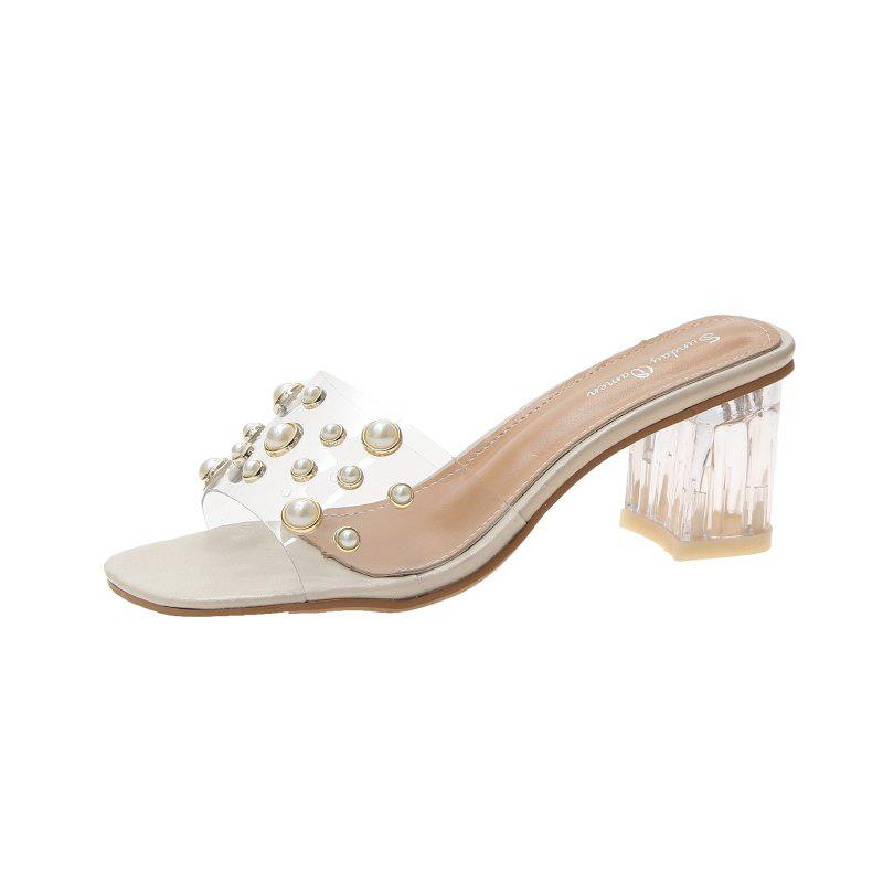 Discount High-Heeled Transparent Rivet Fashion Girl Slippers