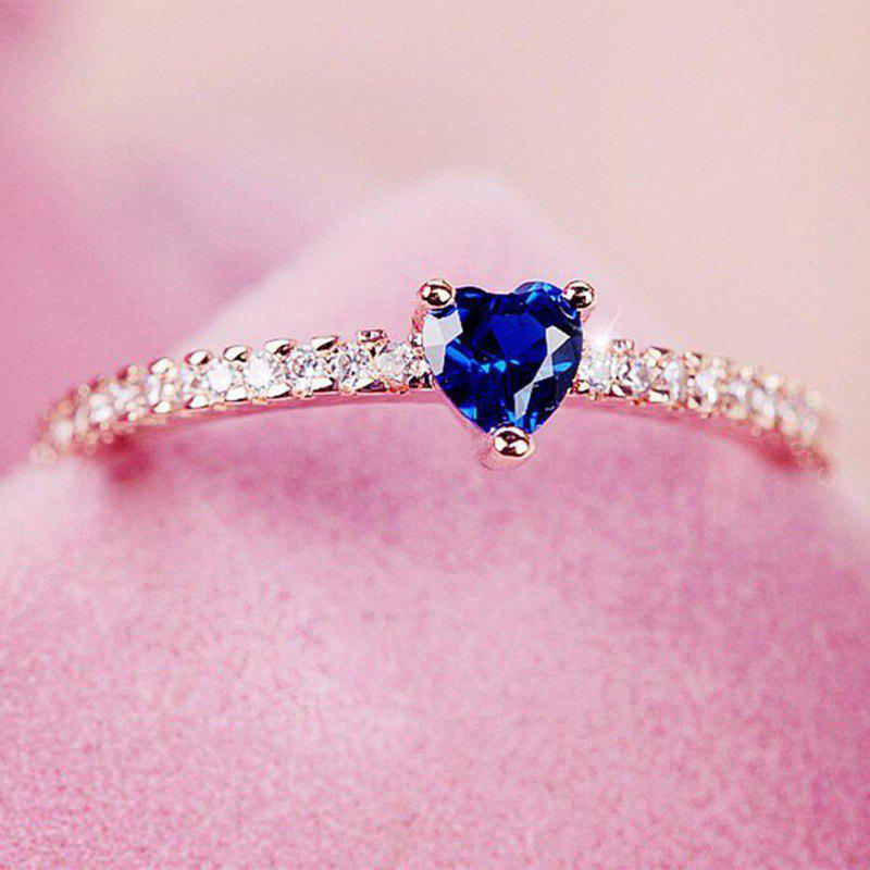 Aristocratic Simple Heart Silver Natural Gemstone Birthstone Engagement Ring