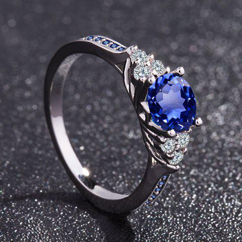 Exquisite Silver Diamond Gemstone Birthstone Bride Princess Ring