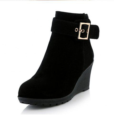 Round Toe Sand Skin Belt Buckle Pure Color Side Zipper Wedges Lady Boots
