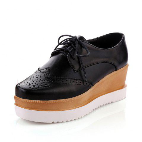 Round Toe Platform Lace Up Wedges Casual Lady Pumps