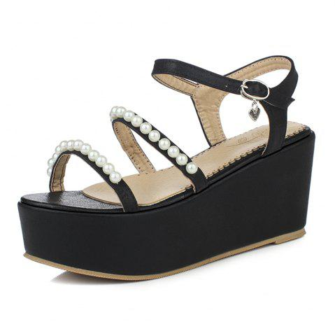 Platform Pearl Chain Buckle Strap Wedges Sweet Lady Sandals