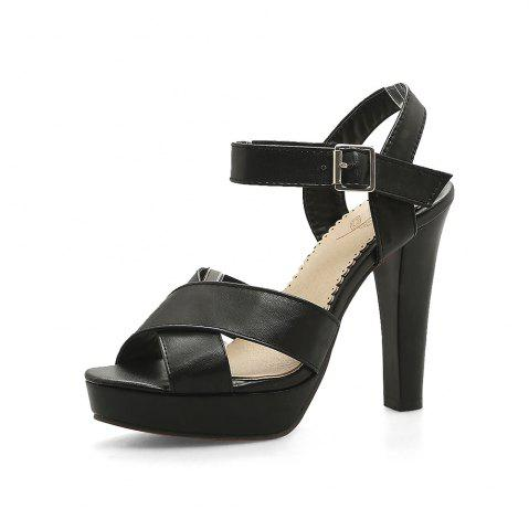 Platform Round Toe Pure Color Buckle Strap Chunky Heels Elegant Lady Sandals