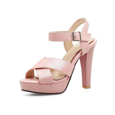 49335042c Platform Round Toe Pure Color Buckle Strap Chunky Heels Elegant Lady Sandals