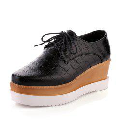 Platform Square Toes Pure Color lace Up Wedges Women Casual Shoes -