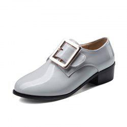Round Toe Patent Leather A Belt Buckle Chunky Lady Casual pumps -