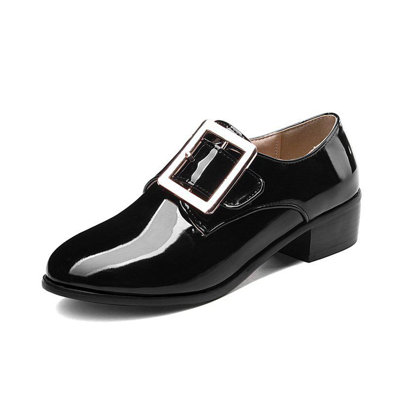 Affordable Round Toe Patent Leather A Belt Buckle Chunky Lady Casual pumps