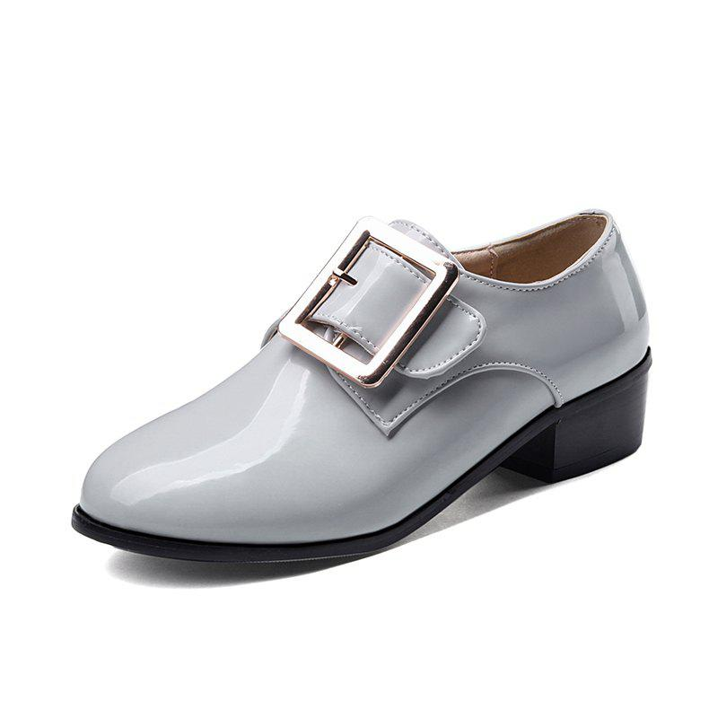 Shop Round Toe Patent Leather A Belt Buckle Chunky Lady Casual pumps