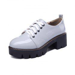 Round Toe Platform Patent Leather Lace Up Chunky Lady Casual Pumps -
