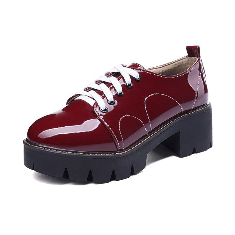 Discount Round Toe Platform Patent Leather Lace Up Chunky Lady Casual Pumps