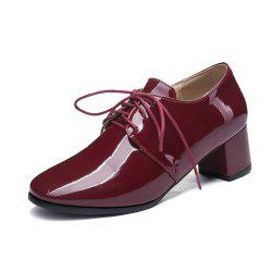 Round Toe Patent Leather Pure Color Lace Up Chunky Lady Casual Pumps -