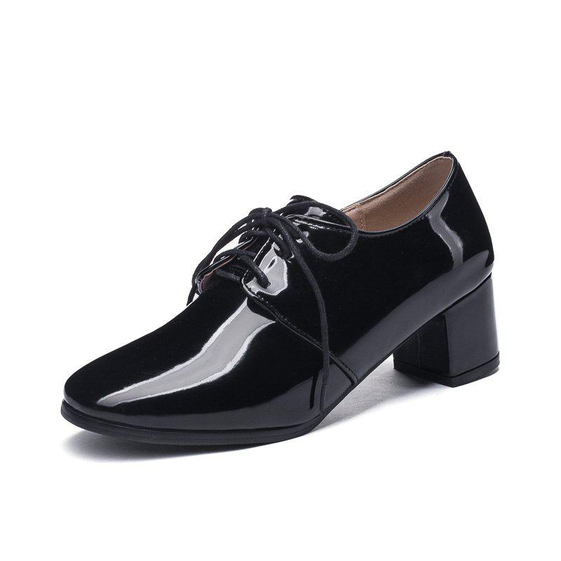 Buy Round Toe Patent Leather Pure Color Lace Up Chunky Lady Casual Pumps