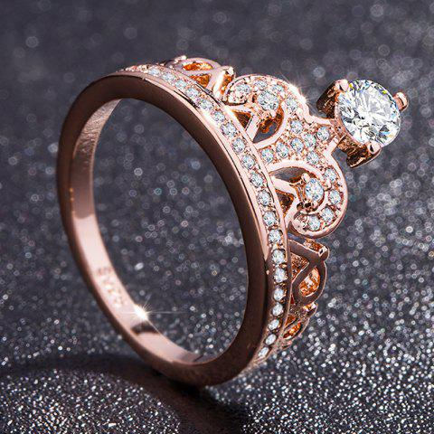 Fashion Rose Gold Pretty Crown Lady Crystal Ring Princess Ring Perfect Present